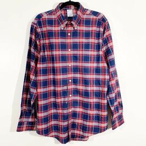 Brooks Brother Regent Navy Plaid ButtonFront Shirt